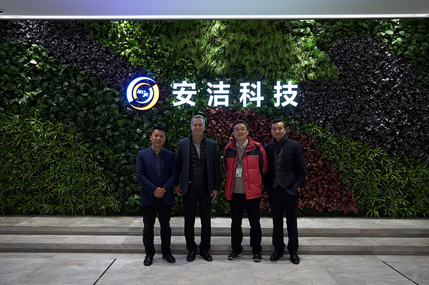 Alex Gruzen, CEO of WiTricity, visited Anjie Wireless on Valentine's Day, 2019.